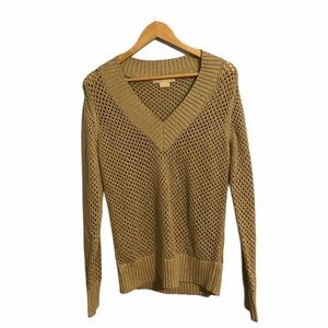 Michael Kors metallic golden knit Vneck sweater M